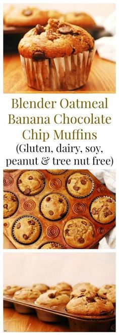 Gluten-free Blender Oatmeal Banana Chocolate Chip Muffins Breakfast Recipe by AllergyAwesomeness Morning Glory Muffins, Banana Chocolate Chip Muffins, Oatmeal Muffins, Oatmeal Cupcakes, Breakfast Cupcakes, Eat Breakfast, Chocolate Cupcakes, Breakfast Ideas, Vegan Cupcakes