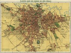 An early-20th Century map of São Paulo by Alexandre Mariano Cococi.