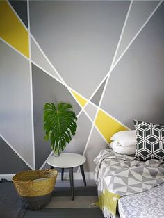 22 Best Bedroom Accent Wall Design Ideas to Update Your Space in 2020 Accent Wall Designs, Bedroom Wall Designs, Accent Wall Bedroom, Bedroom Decor, Master Bedroom, Accent Walls, Gray Painted Walls, Grey Paint, Room Wall Painting