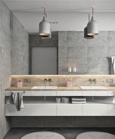 Ванная / санузел / бетон / лофт / светильники / тумба под раковину