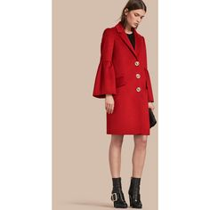 Burberry Tailored Wool Cashmere Coat with Bell Sleeves ($1,915) ❤ liked on Polyvore featuring outerwear, coats, pink wool coat, burberry, fitted wool coat, wool coat and pure cashmere coat