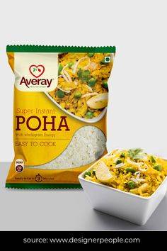 The recipe picture is depicting the final look of the instant poha. The yellow colour of poha is dominated throughout the package to give it a real feel. Package designed using font hierarchy to highlight the main features. #foodpackaging #packagingdesign #foodpackagingdesign #foodpackagingideas #packqagingideas