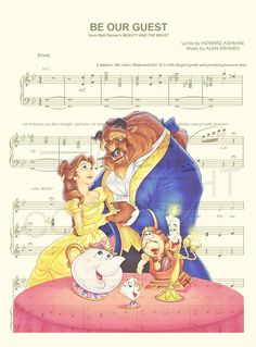 Beauty and the Beast Be Our Guest Sheet Music Art by AmourPrints