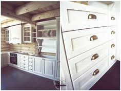 Drewniana kuchnia, kuchnia z drewna, białe meble kuchenne, romantyczna kuchnia, klasyczna kuchnia. Zobacz więcej na: https://www.homify.pl/katalogi-inspiracji/31198/6-pomyslow-na-drewniana-kuchnie