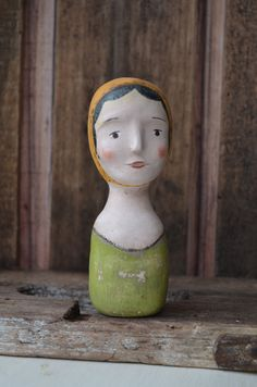 VIntage Style Milliners Head Mannequin Replica Folk art paperclay