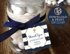 Navy Gold BAPTISM Favor Tag, Boy Baptism Gift Tags, Boy Baptism Favor Tag, Baptism Printable, Baptism Bonbonniere, Thank you Tag, Baptism by TweetPartyPrintables on Etsy