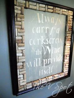 chalk board with wine cork border