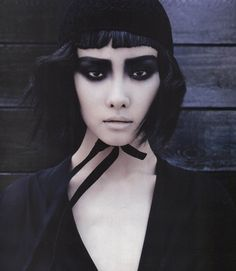 "Ji Young Kwak in ""Magical Black"" by François Nars for Vogue Korea, July 2013"