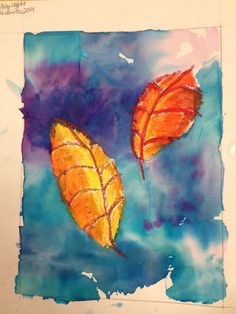 """This is what i call """"faux watercolor"""". materials: cray pas o Watercolor Art Lessons, Watercolor Projects, Watercolor Paper, Fall Art Projects, School Art Projects, School Ideas, Kindergarten Art, Preschool Art, Oil Pastel Art"""