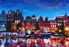 """Saatchi Art Artist: M Bleichner; Acrylic 2014 Painting """"Amsterdam Skyline with Canal at Night"""""""