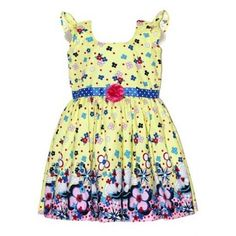 Moms Girl Floral Frock With Border (Lemon Yellow N Pink) #summerdresses #dressesforgirls #babyfrocks
