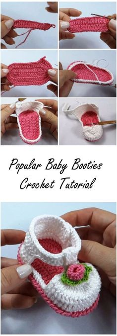 "Popular Baby Booties Tutorial ""Discover thousands of images about Popular Baby Booties Tutorial"", ""Crochet Tutorials and Patterns"", ""Discover thousan Crochet Baby Sandals, Booties Crochet, Crochet Baby Clothes, Crochet Shoes, Crochet Slippers, Baby Booties, Baby Blanket Crochet, Baby Girl Patterns, Mode Crochet"