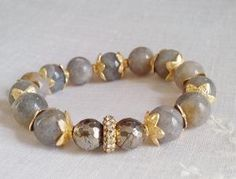 Labradorite Pyrite gold plated bead caps and by KayouBijouDesigns, $55.00 by Jersica