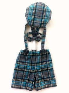 Fun boys photo prop.  Unique outfit for ring bearer in soft blue plaid brushed cotton