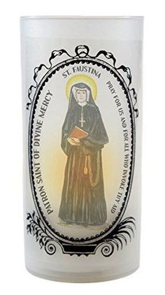 Saint Faustina Patron of Divine Mercy Led Tea Light Cup Flickering Prayer Candle