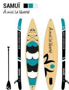 La planche gonflable SAMUI, avec son nez effilé légèrement relevé, est spécialement conçue pour fendre les vagues sous son passage.     Cette planche gonflable est plus résistante et moins encombrante qu'une planche rigide et est idéal pour les aventuriers en quêtes de longues randonnées ou les challengers voulant s'initier à la course et à la descente de rivières. Samui, Paddle Boarding, Surfboard, Ocean Waves, Floor, Products, Surfboards, Stand Up Paddling, Surfboard Table