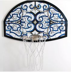 """Victor Solomon's """"Literally Balling"""" exhibition features stained glass basketball backboards with jewels on the hoop's net. Basketball Diaries, Basketball Art, Basketball Backboard, Basketball Scoreboard, San Francisco Basketball, Acrylic Frames, Solomon, Decoration, Stained Glass"""