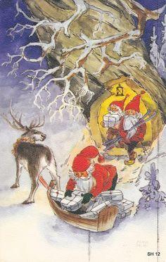Irma Salmi Christmas Tale, Vintage Christmas, Christmas Cards, Holiday Postcards, Vintage Postcards, Troll, Kobold, Garden Gnomes, Christmas Illustration