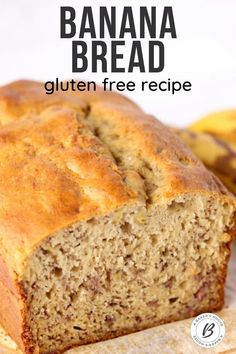 Gluten free banana bread is a super moist quick bread that will become your go-to banana bread! Use a gluten free flour mix to make this banana bread gluten free. No one will know that the gluten is missing! #bananabread #glutenfree #baking #bread Banana Bread No Eggs, Gluten Free Banana Bread, Vegan Banana Bread, Baked Banana, Gluten Free Flour Mix, Gluten Free Baking, Banana Bread Recipes, Dairy Free Recipes, Fall Recipes