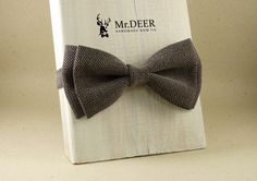 Brown and White Bow Tie - Ready Tied Bow Tie - Adult Bow Tie - Mens bowtie - Groomsman, Wedding Bow Tie - Gift for Him - Mr.DEER