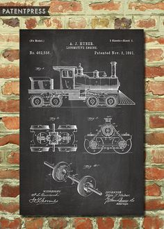 Locomotive Train Poster Kids Train Art Steam Train by PatentPress