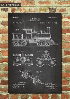 Locomotive Train Poster Kids Train Art Steam Train by PatentPress