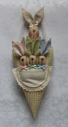 "J'aime bien les lapins ""Tilda"" ! shabby chic country prim craft easter rabbit decoration or gift"