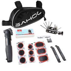 Sahoo® Bicycle Bike Tyre 14 in 1 Multi-use Repair Tools Kits Bag with Mini Pump