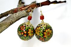 Natural wood earrings. Hand painted. Russian by IGORartPAINTING