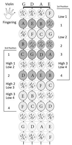 Violin fingerboard with notes and finger numbers - 1st and 3rd positions print size 8 X 10