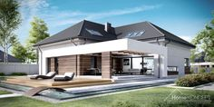 Projekt domu HomeKONCEPT 28 by HomeKONCEPT Unique House Plans, Modern House Plans, House Roof Design, Sims House Plans, Modern Roofing, Concept Home, House Front, Future House, Beautiful Homes