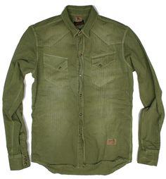 PRPS Army Green button down shirt E61S47, Free Shipping at CelebrityModa.com