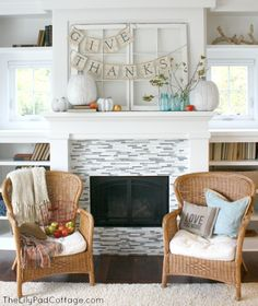 Thanksgiving Mantel Decor - The Lilypad Cottage - I would just replace the white pumpkins with orange!