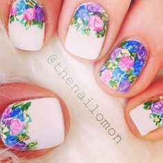 blue, floral, flowers, nail art, nails, pink, purple, white