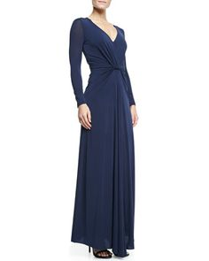 Long-Sleeve Jersey Gown with Twist Detail, Navy by Halston Heritage at Neiman Marcus.