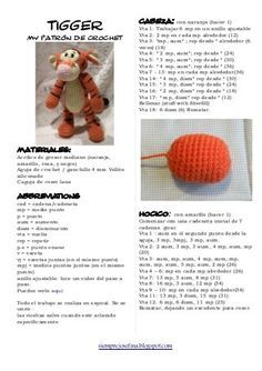 Tigger - Winnie the Pooh Amigurumi - Patrón Gratis en Español (4páginas) aquí: http://de.slideshare.net/CARMENACOSTA82/tigger-8041733
