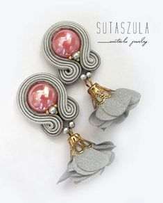 Gray flower clip on earrings Cocktail earrings soutache image 1 Soutache Earrings, Tassel Earrings, Clip On Earrings, Plastic Canvas Tissue Boxes, Plastic Canvas Patterns, Grey Flowers, Polymer Clay Charms, Natural Leather, Wire Wrapped Jewelry