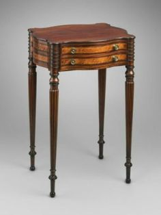 Worktable 1790–1810  Possibly by Thomas Seymour, American (born in England), 1771–1848. Boston, Massachusetts, United States. Dimensions  Overall: 70.8 x 49.2 x 40 cm (27 7/8 x 19 3/8 x 15 3/4 in.)Medium or Technique Mahogany, chestnut; secondary woods: maple, rosewood, mahogany veneer. Accession Number 1984.738. Museum of Fine Arts Boston.