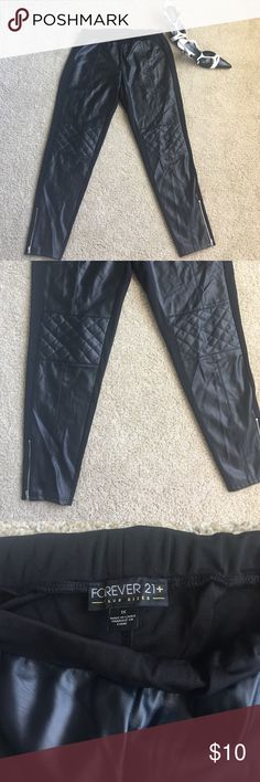 Trendy Faux-leather plus size Skinny pants Cute and trendy faux leather pants by forever 21. They are pull up pants, no zippers.  Front has patch leather style and back is an all stretchy material. Size 1X or 16. Forever 21 Pants Skinny