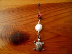 Belly Button Ring  Silver turtle with white pearl by ChelseaJewels, $10.00