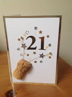 21st Birthday Card Champagne Celebrations by PlumBelleCards