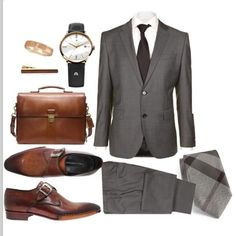 Grey Two Piece Suit w/ Accessories
