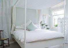 for a decor scheme that feels like a breath of fresh air: Farrow & Ball Pavilion Blue + sunshine + houseplants + white/black/wood