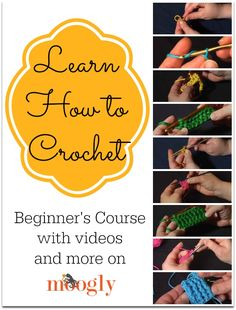 Great site for learning how to crochet! Learn How to Crochet with Moogly! All the video tutorials you need in one place to get started with this fab craft! Learn To Crochet, Diy Crochet, Crochet Crafts, Yarn Crafts, Hand Crochet, Double Crochet, Single Crochet, Crochet Classes, Crochet Books