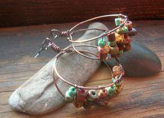 Earthy rustic Hoop earrings chandelier style earrings by kmaylward