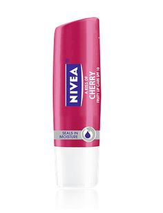 Nivea, A Kiss Of Cherry. I love this lip balm for a nice pop of color and soft, kissable lips, year around!