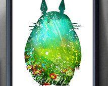Mi vecino Totoro Studio Ghibli acuarela Poster Print - acuarela pintura…
