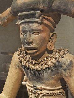 Closeup of a Figure of a Seated Chieftain Early Classic Remojadas Southern Veracruz, Gulf Coast Mexico 300-600 CE Terracotta