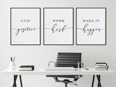 Dream Believe Achieve Minimalist Office Decor Living Room Above Couch or Bed Wall Art Set of 3 Print Inspirational Quote by DivineDigitalPrints Office Artwork, Office Wall Decor, Office Walls, Small Office Decor, Work Office Decorations, Small Office Spaces, Closet Office, Office Prints, Office Signs