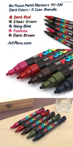 Uni Posca paint markers use vivid, opaque ink that can write on virtually any surface, including paper, photos, glass, wood, plastic, and metal. This bundle includes 5 colors: Dark Brown, Dark Red, Fuchsia, Khaki Green, and Navy Blue. Khaki Green, Navy Blue, Dark Red, Dark Brown, Uni Posca, Jet Pens, Pen Sets, Paint Markers, Dark Colors
